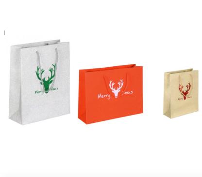 Glamouröse Weihnachtstüte Papierkordeltasche Weihnachten Glitter-Optik Rot Silber Gold günstig preiswert schnelle Lieferung MerryXmas weihnachtlich Einkaufstasche Papiertüte