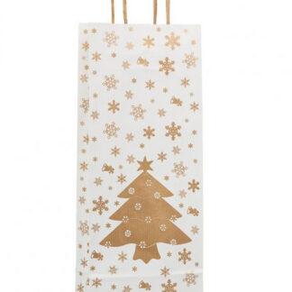 Papierkordeltasche Weihnachten Christbaummotiv weiß Gold eine Geschenkflasche