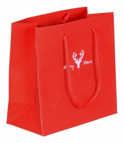 Papierkordeltasche Weihnachten Glamourös Glitter-Optik MerryXmas Einkaufstasche Exklusiv Weihnachten günstig schnelle Lieferung Rot