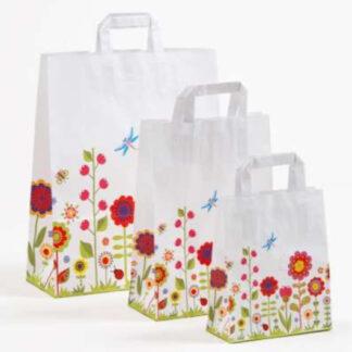 Papierhenkeltasche Blumenmotiv Einkaufstasche Werbung Blumen günstig preiswert schnelle Lieferung