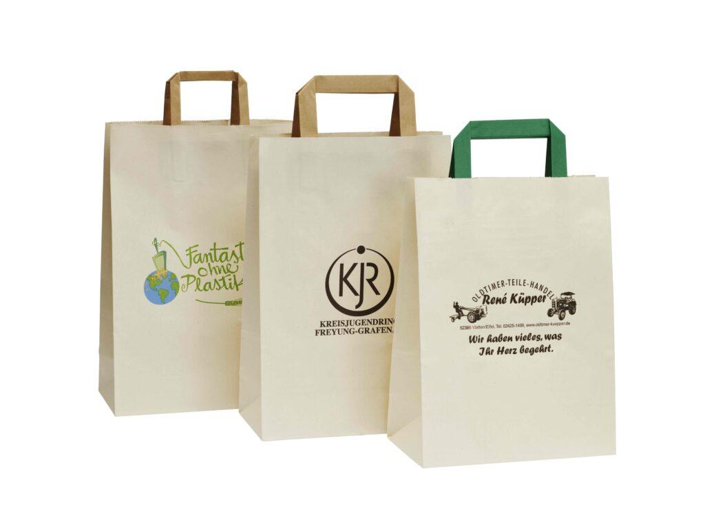 Nachhaltige Papierhenkeltaschen individueller Werbedruck schnelle Lieferung hochwertig robust viele Größenformate zuverlässig vertrauenswürdig Klimaschutz Preiswert Ökologisch Tragetasche Werbetasche Werbedruck