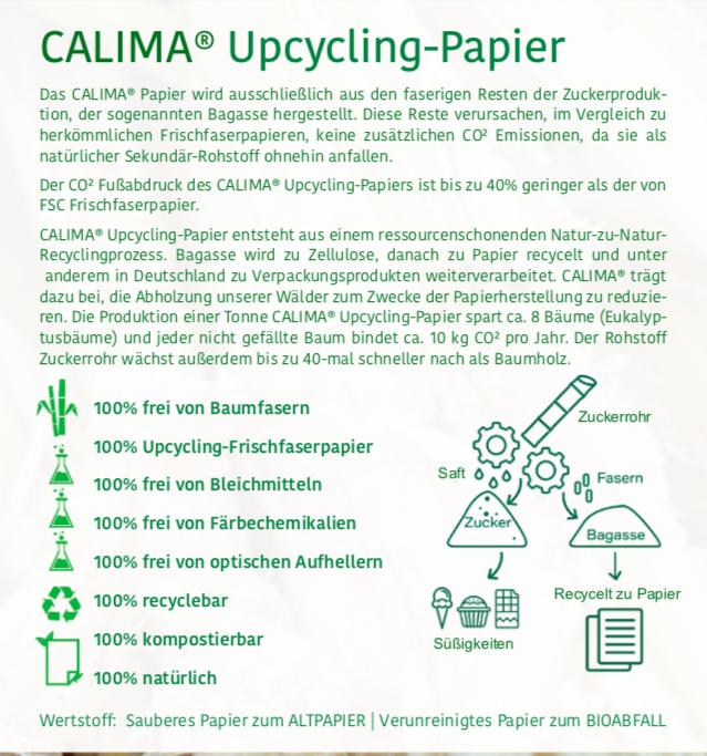 Tree Free Sugar Cane Zuckerrohrpapier Calima Paper Recycling Upcyling Go Green umweltbewusst sustainable ohne Werbedruck Klimaneutral Kompostierbar schnelle Lieferung preiswert günstig tusted