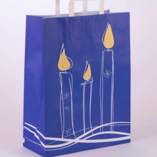 Einkaufstasche Papierhenkeltasche Weihmachten Christmas XMas Werbemittel Tüte Tragetasche Blau Kerzenmotiv Stimmungsvoll preisgünstig schnelle Lieferung zuverlässig