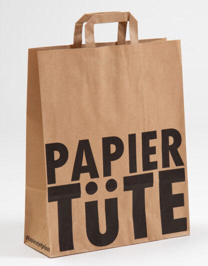 Papiertüte Sustainability Eco UMweltbewusst preisgünstig schnelle Liferung zuverlässig vertrauenswürdig Recyclingpapier Werbemittel Werbebotschaft Natur Braun