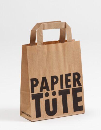 Papiertüte Papierhenkeltassche Nachhaltig Sustainabilty Einkauftstasche Recyclingpapier Werbemittel Nachhhaltig Recycling Eco bedruckt braun Werbemittel Investment günstig schnelle Lieferung trust ZUVERLÄSSIG Papier Werbung